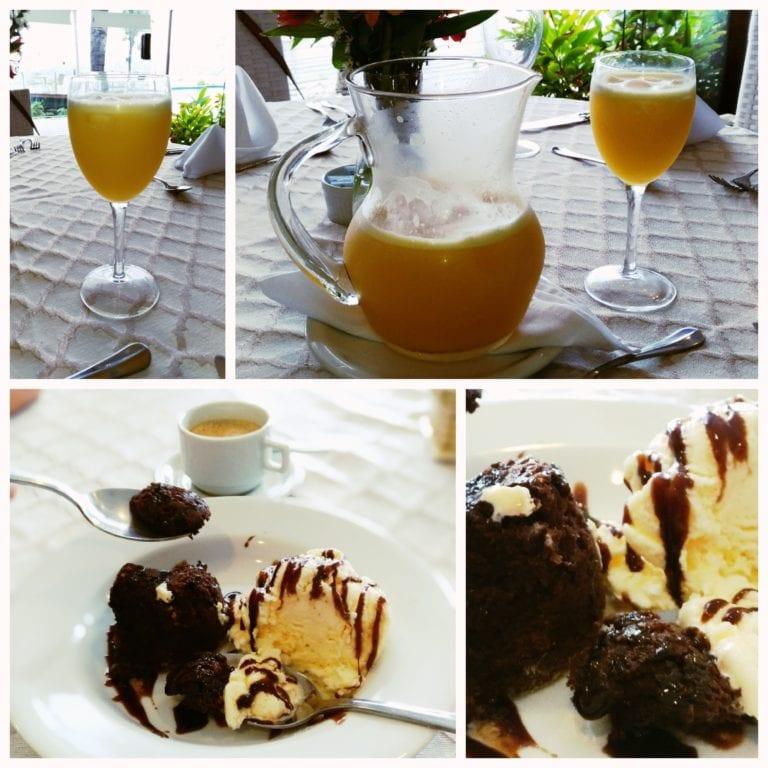 Restaurante Hotel Ferradura Private - sucos natural e sobremesa acompanhada de café expresso