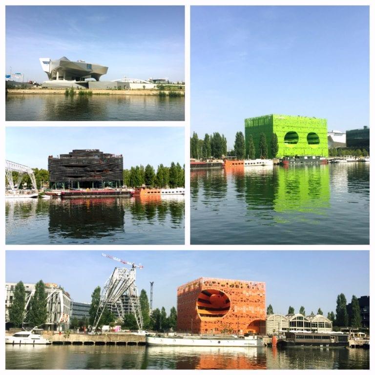 Lyon City Card - Les Bateaux Lyonnais e a vista do museu da Confluence e dos prédios coloridos de arquitetura moderna
