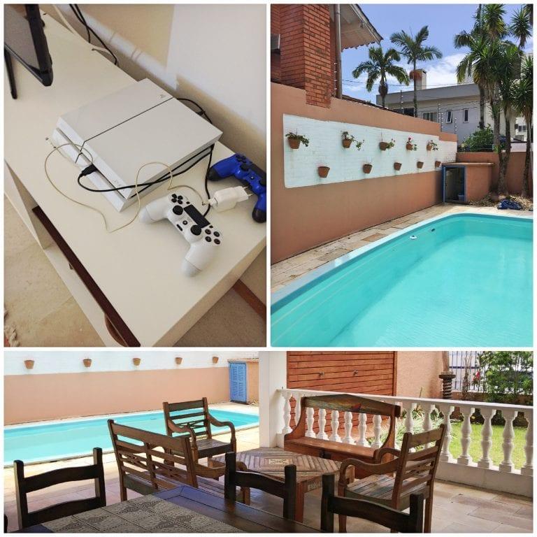 Vídeo game, piscina e um pouco da área de lazer da Hospedaria Conceitual