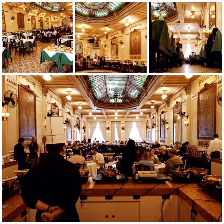 Confeitaria Colombo - almoço servido no Salão Cristóvão funciona no sistema de buffet