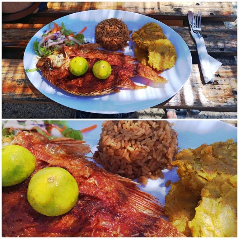 Almoço típico de Cartagena: peixe frito com arroz de coco e patacones