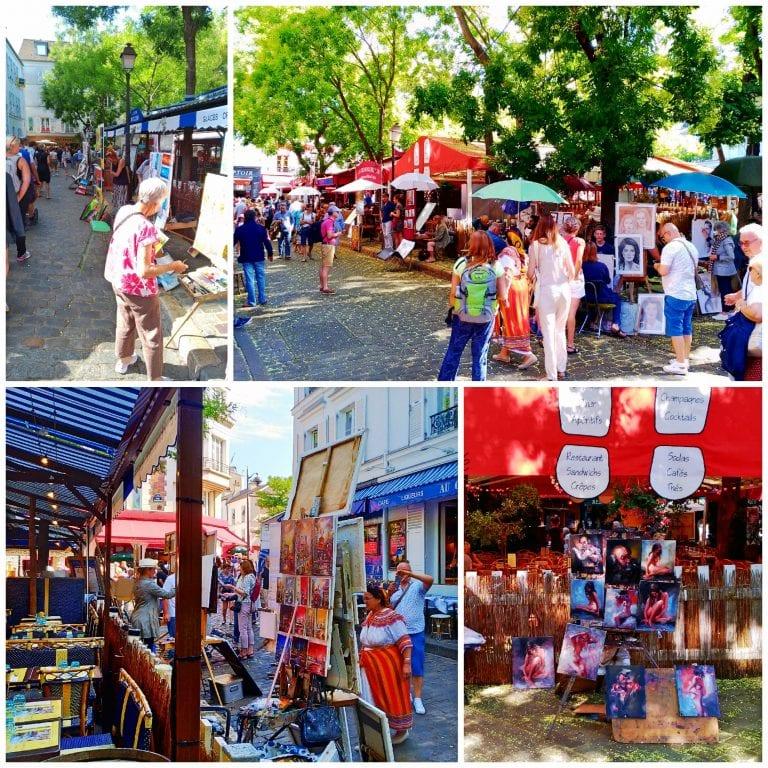 Place du Tertre – o coração de Montmartre com seus artistas de ruas