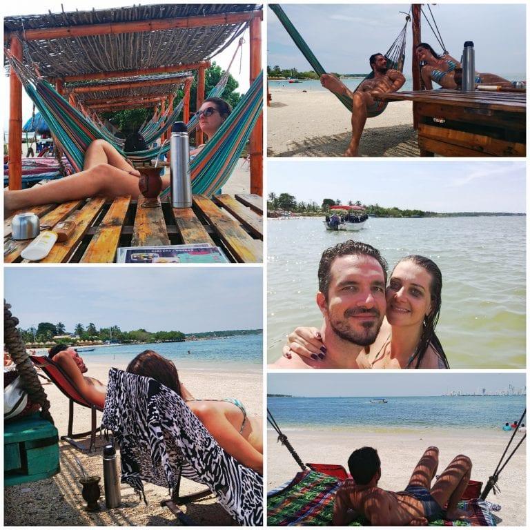 Curtindo o dia de praia em Cartagena
