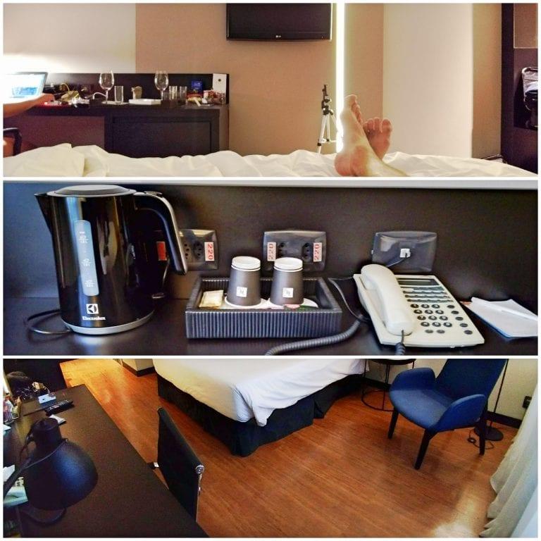 Hotel Grand Mercure São Paulo Vila Olimpia - escrivaninha ampla com tomadas e estrutura para quem precisa trabalhar
