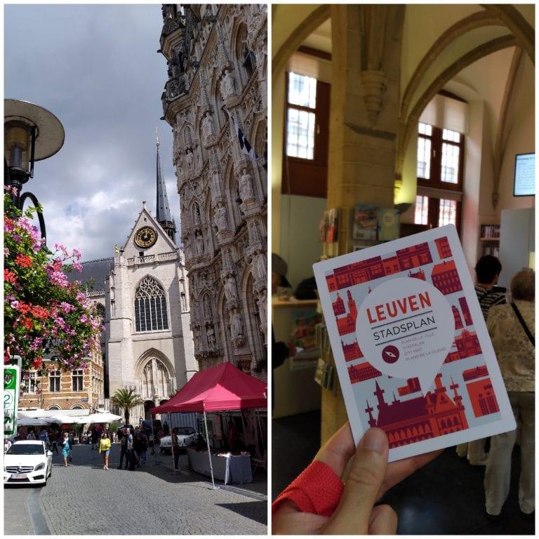 Entrada da loja de turismo 'Visit Leuven' e um dos folhetos informativos da cidade