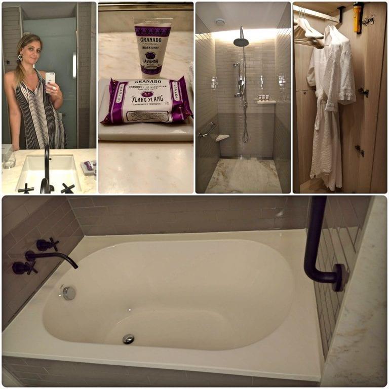 Grand Hyatt Rio de Janeiro - banheiro enorme com produtos da Granado, chinelos e roupão