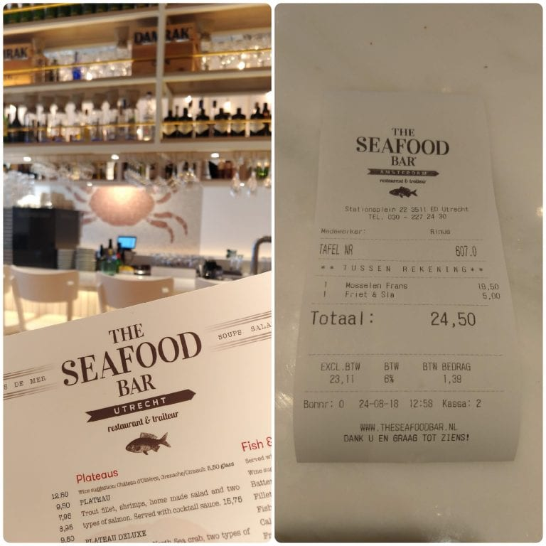 The Seafood Bar Utrecht - conta