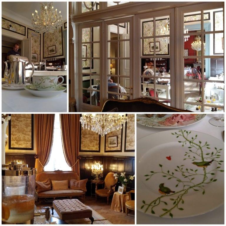 Louças e ambiente interno do salão de café da manhã