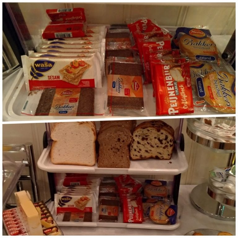 Alguns pães, bolos e/ou biscoitos em embalagens individuais