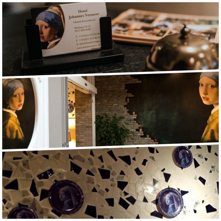 Referências a Johannes Vermeer em toda a decoração