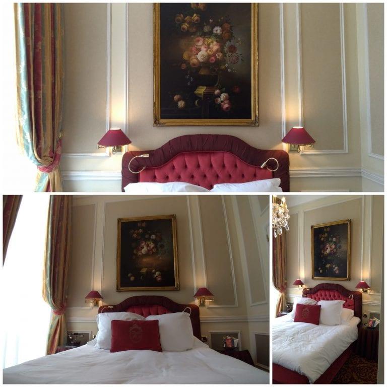 Cama queen e detalhes da estrutura do quarto