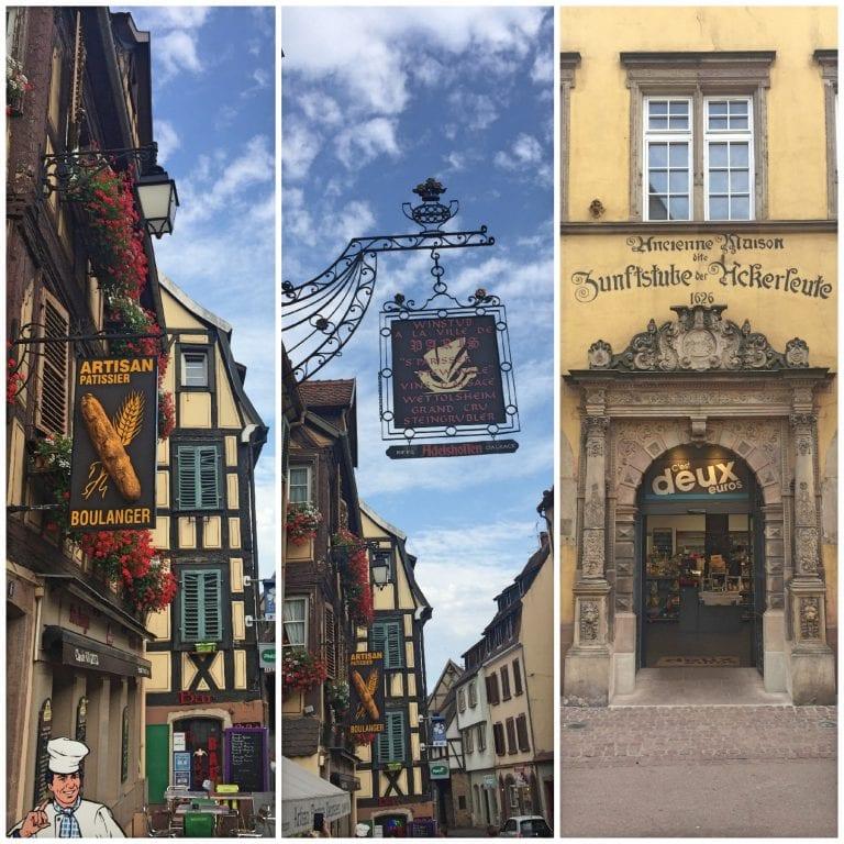 Fachadas das lojas em Colmar, na Alsácia