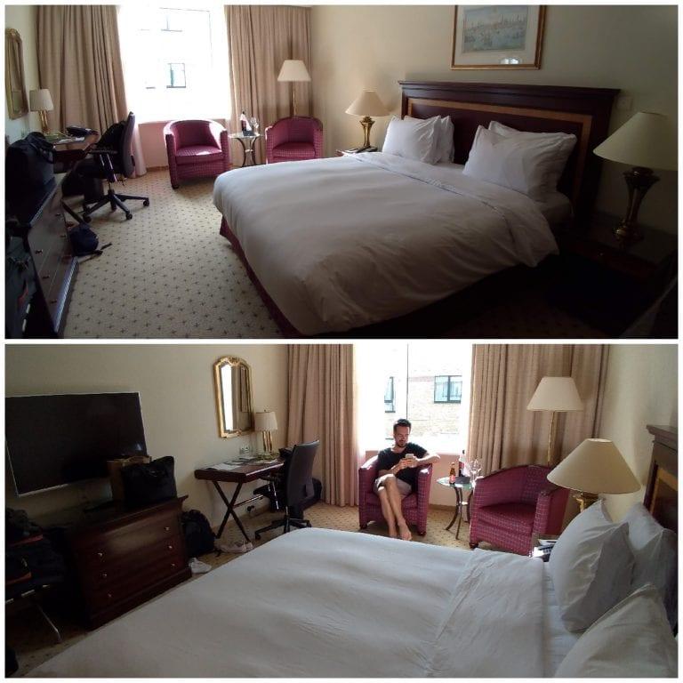 Detalhes do quarto amplo e da cama confortável