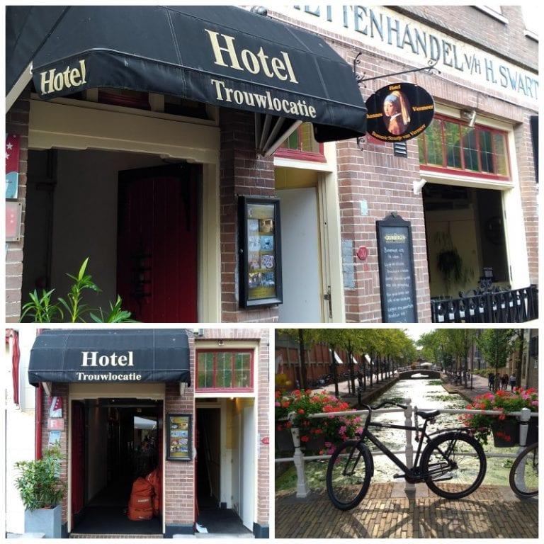 Fachada do Hotel Vermeer e detalhe do canal que fica em frente