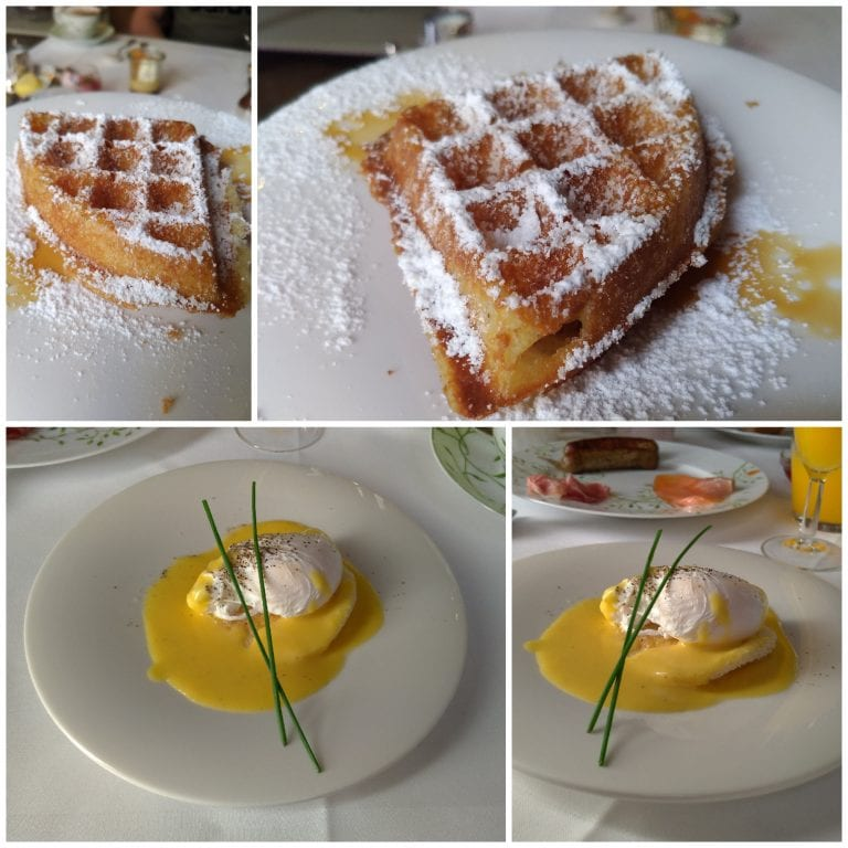 Waffles e Eggs Benedict preparados na hora