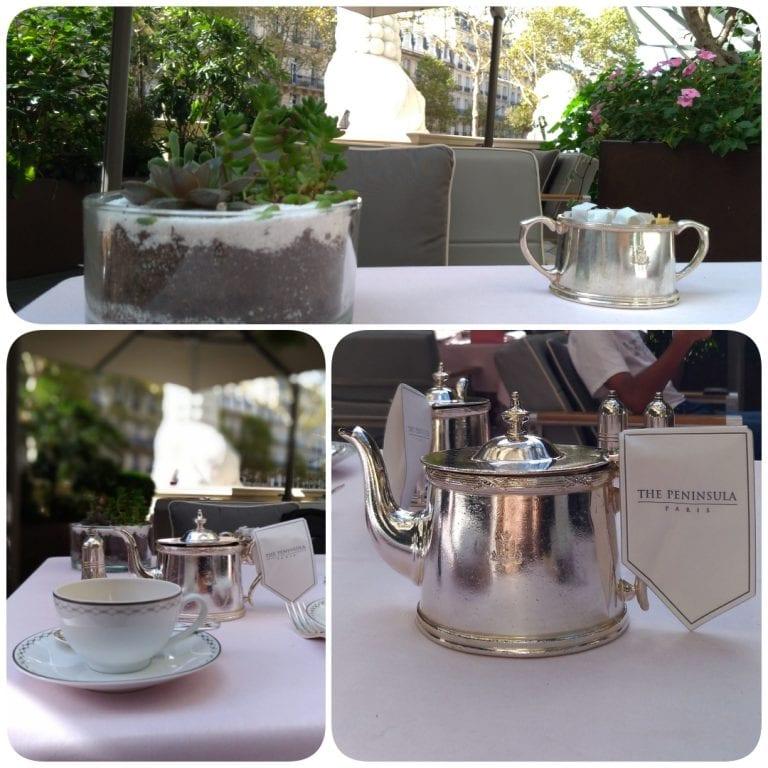 Afternoon Tea The Peninsula Paris - louça e jogo de servir de prata