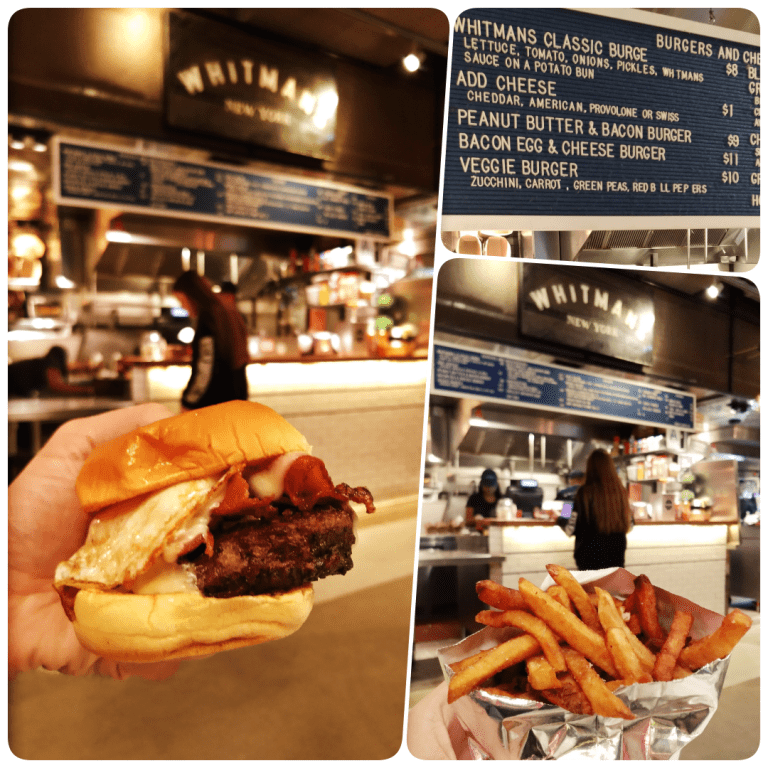 Row NYC - Também tem clássico americano no City Kitchens - o saboroso burger do Whitmans New York