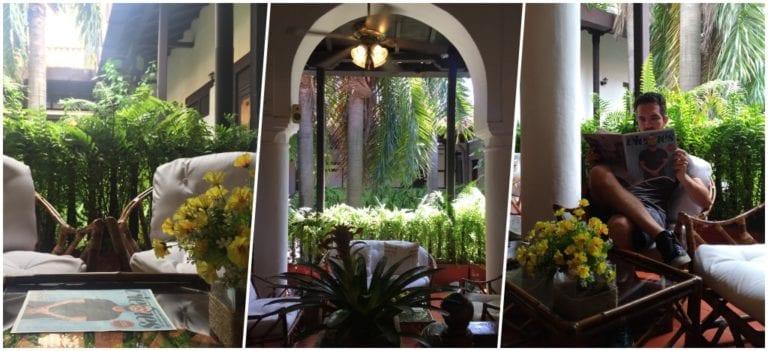 Detalhes do pátio colonial do Hotel