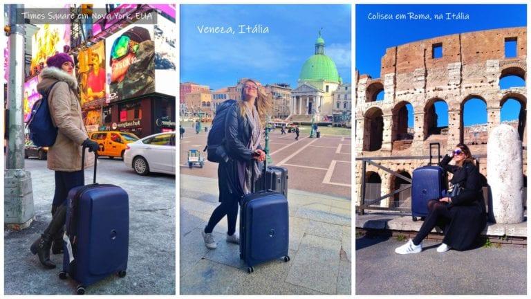 Mosaico mostrando a Chai está com sua mala Belmont Plus da marca Delsey tamanho M em várias cidades: Nova York, Veneza e Roma