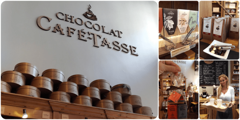 Mosaico com detalhes das prateleiras da loja, uma mulher segurando uma bandeja e o logo da Chocolat Cafe Tasse na parede| Guia de restaurantes em Bruxelas