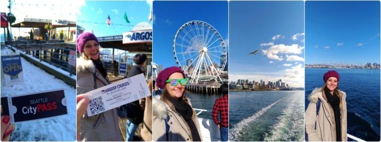 composição de 5 fotos: 1) talão escrito Seattle CityPass; 2) Ingresso Argosy Cruises; 3) Chai de óculos de sol e gorro no barco com a roda gigante de Seattle ao fundo; 4) Gaivota voando sobre o mar com cidade ao fundo; 5) Chai no barco com a cadeia de montanhas ao fundo