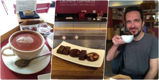 Mosaico de 3 fotos com xícara de chocolate quente, prato com pralines e na última Augusto segurando a xícara próximo à boca