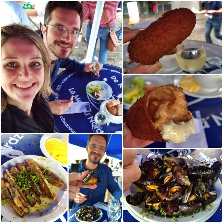Vários detalhes das comidas do restaurante em um mosaico