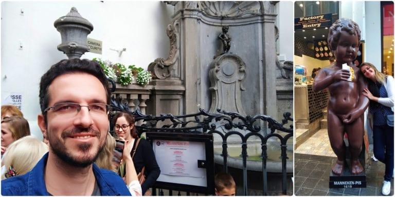 Augusto com o Manneken Pis verdadeiro e a Chai com a réplica em escala bem maior que fica em frente à loja Le Funambule