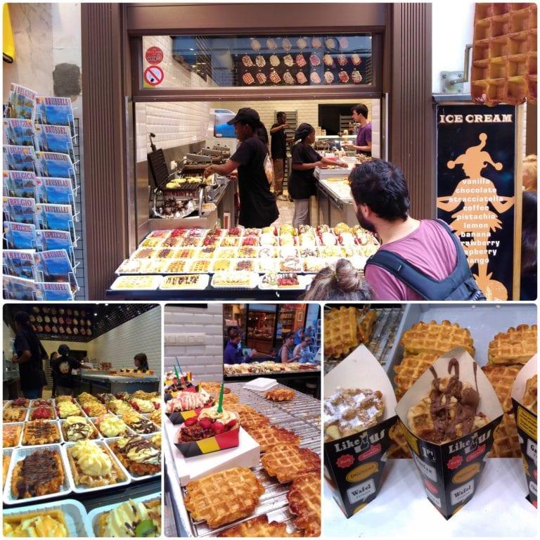 Mosaico com fotos da vitrine e detalhes dos waffles