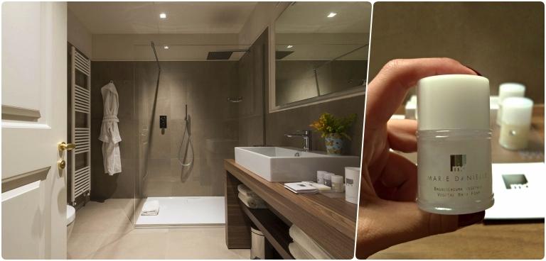 Onde ficar em Lucca: mosaico com o plano geral em grande angular do banheiro e uma foto detalhe do shanmpoo