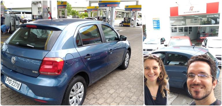 Alugar carro em Gramado e Canela: na primeira foto mostra apenas o carro e na segunda o casal em frente a fachada da loja e com o carro