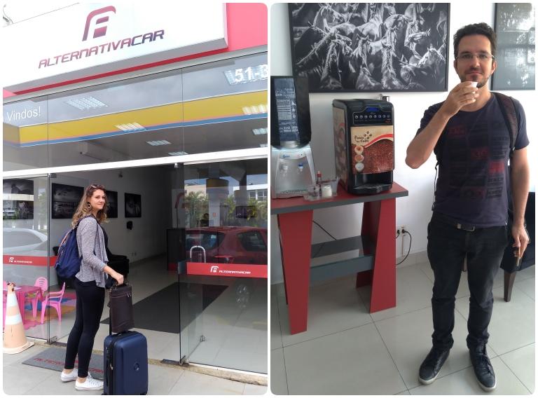Alugar carro em Gramado e Canela: Chai entrando na loja com as malas e o Guto bebendo café ao lado da máquina
