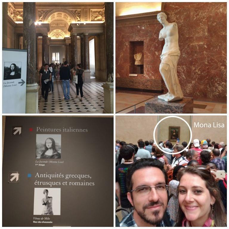 Boa sinalização para as obras mais famosas: Mona Lisa e Vênus de Milo