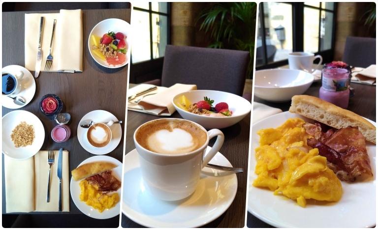 Onde ficar em Lucca: montagem cm 3 fotos de café da manhã do Palazzo Dipinto mostrando cappuccino, prato com ovos e bacon e uma foto de todas mesa vista de cima