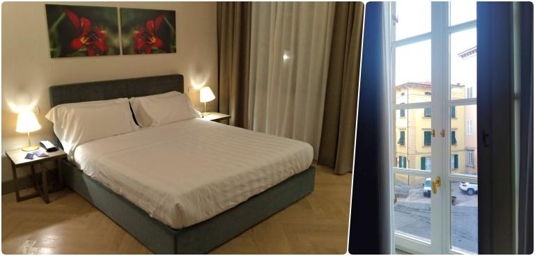 Onde ficar em Lucca: mosaico com a cama e a vista da janela do quarto Deluxe do Palazzo Dipinto