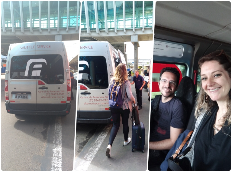 alugar carro em Gramado e Canela: van que faz o transporte entre o aeroporto e o escritório