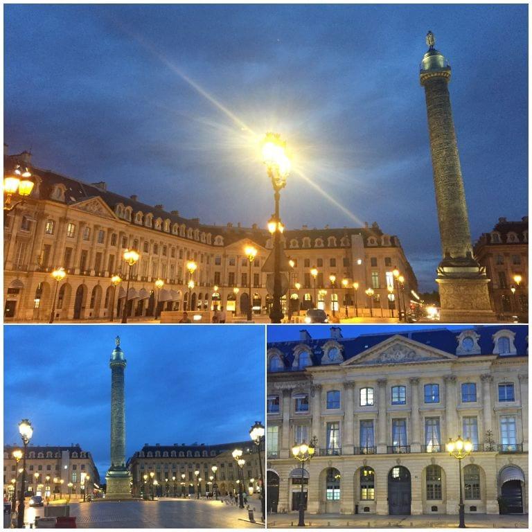 Place Vendôme no cair da noite em Paris