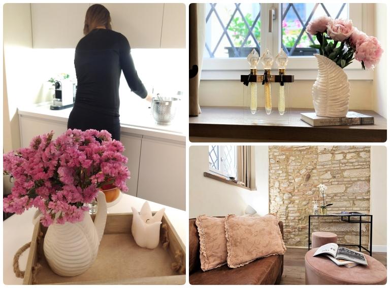 Fratta5 Luxury Apartment decoração: vasos com flores naturais, revistas, almofadas