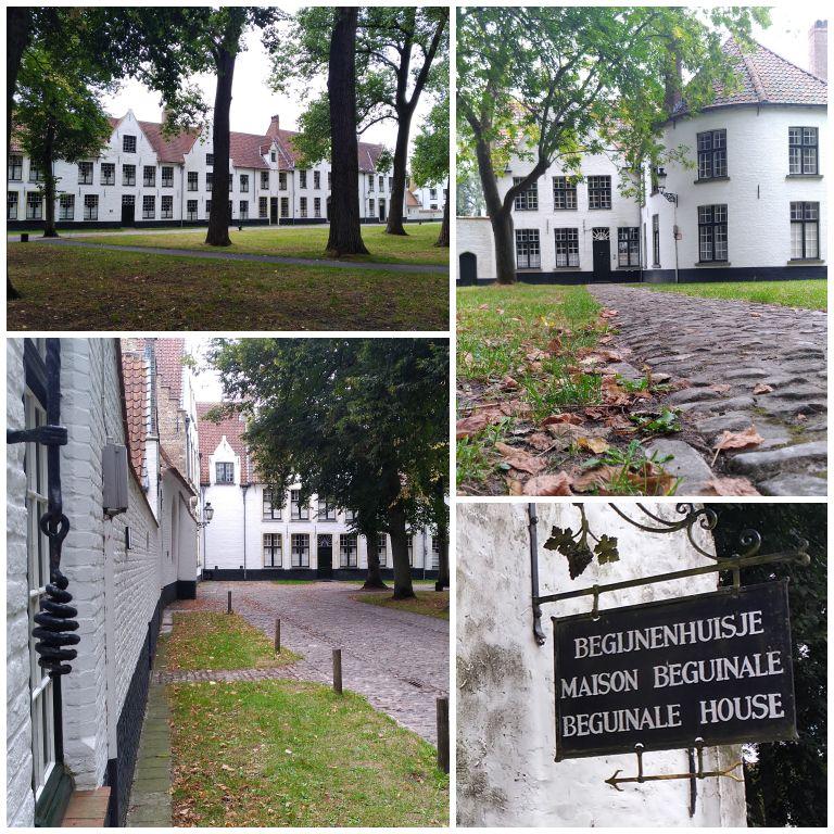 As casas e o clima de paz e tranquilidade na Begijnhof de Bruges