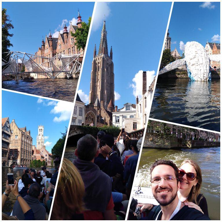 Alguns momentos do passeio de barco em Bruges