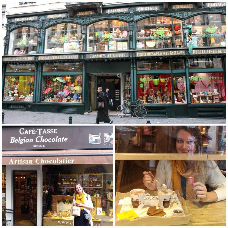 Detalhes das ruas e cafés de Bruxelas, e o primeiro chocolate quente que experimentamos no delicioso Café-Tasse