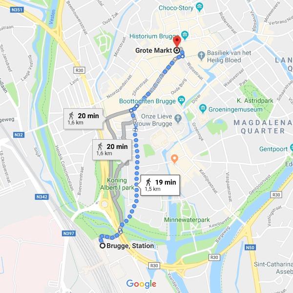Distância entre a estação de trem de Bruges e a Grote Markt