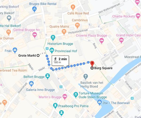 Da Grote Markt até a BurgPlatz em Bruges