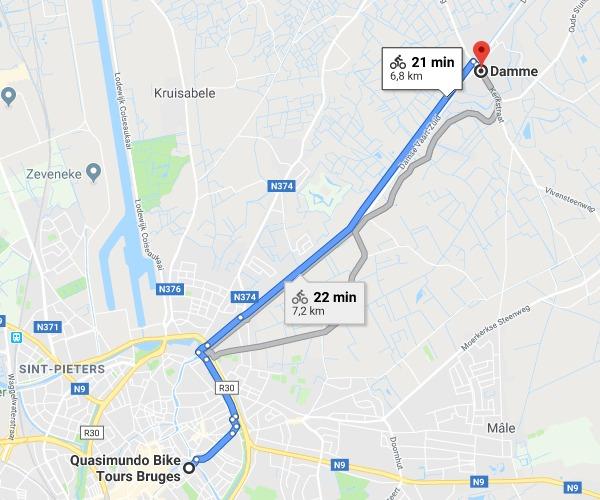 Tour de bike até o vilarejo de Damme