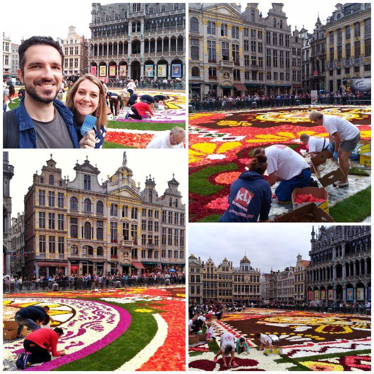 Montagem do tapete de flores na grand Place durante o evento Flower Carpet