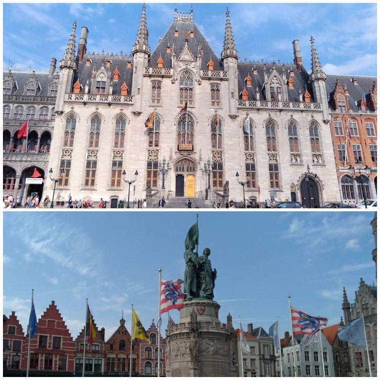 Provinciaal Hof e estátuas ao centro da Grote Markt