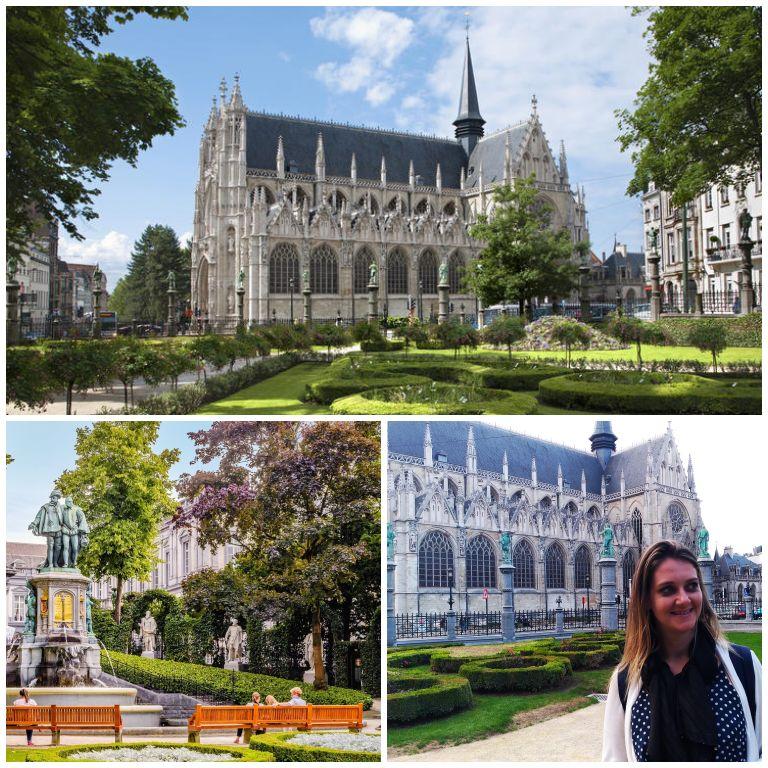 Igreja Notre-Dame du Sablon e detalhes da Place du Grand Sablon