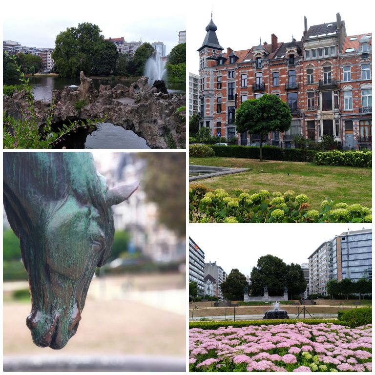 Detalhes dos jardins do Square Ambiorix e das belas fachadas dos edifícios do Distrito Europeu