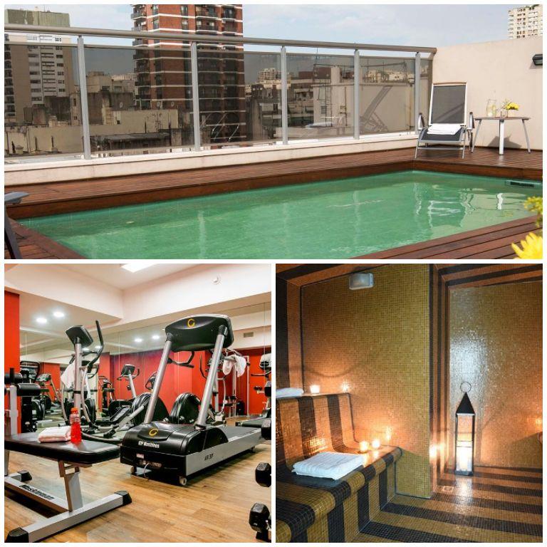 Estrutura oferecida pelo hotel: SPA, piscina e academia