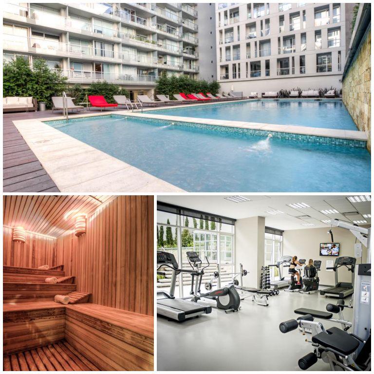 Piscina, sauna e academia fazem parte da estrutura do Casasur Bellini Hotel
